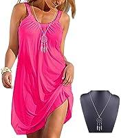 Imixshopcs Women Relaxed Sleeveless Beach Short Mini Dress with Gathered Neckline