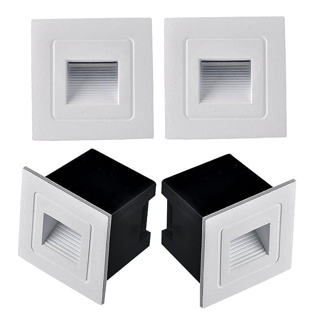 Midore 4 Stück Wandeinbauleuchten Aluminium LED Wand Treppenlicht Für Innen  Und Außenbereich 3 Watt IP65: Amazon.de: Beleuchtung