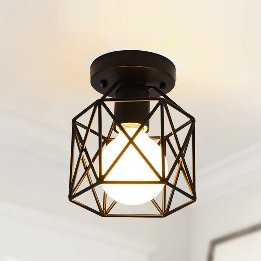 RUXUE Industrial Pendant Light Vintage Square Cage Semi Flush Mount Ceiling Light Chandelier Black