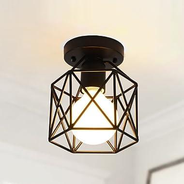 RUXUE Industrial Semi Flush Mount Ceiling Light Square Cage Chandelier Light Black