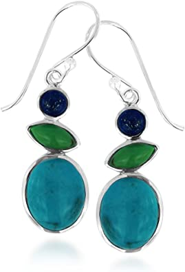 Azurite Natural Gemstone Drop Earrings Deep Turquoise Aqua and Black Sterling Silver French Hook Ear Wires