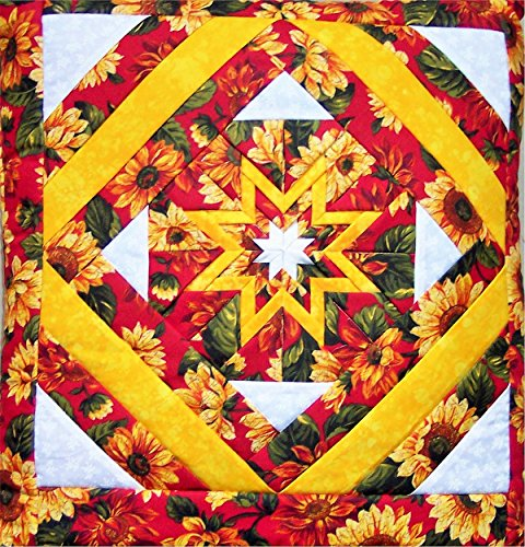 Folded Star Quillow (Quilt/Pillow Combo) Sunflowers Amish Handmade in USA