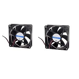 LDEXIN 2pcs 92mm x 92mm x 25mm 2 Pin DC 24V 0.2A Silent Brushless Computer Cooling Blower Fan Black