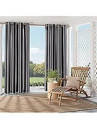 1pc 95 Black Stripe Gazebo Curtain Single Panel, Outdoor Pergola Drapes  Porch Deck Cabana Patio