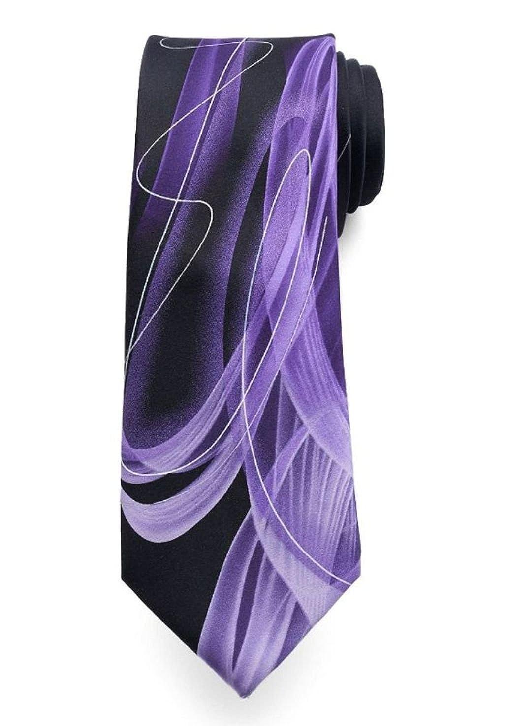 Jerry Garcia Mens Designer Pure Silk Tie Geometric Watercolor Shades of Purple//Guitar Pick