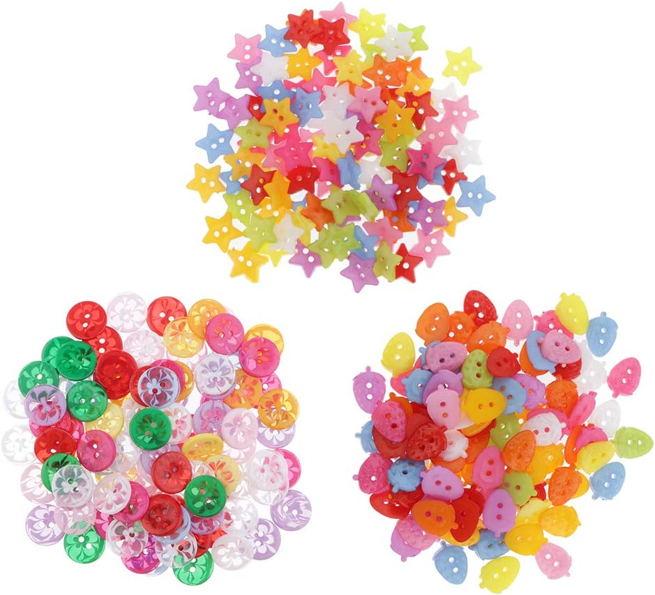 Coat Plastic Sewing Fasteners Buttons LoveinDIY 100Pcs Mixed Color Plastic Sewing Buttons for Sewing Crafts Projects Sweaters Clothes Jackets Clear Flower