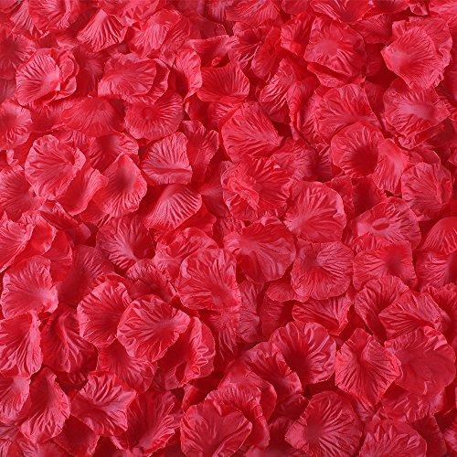 Gtidea 2000 Pcs Red Artificial Rose Petals Silk Flowers