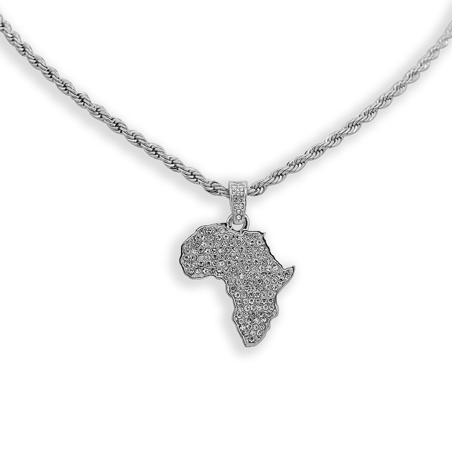 White Gold-Tone Iced Out Hip Hop Bling Africa Pendant with 24'' Solid Rope Necklace Chain