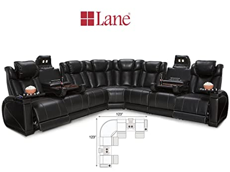 Ordinaire Lane Sigma 7 Piece Media Sofa Sectional | Black Leather Gel | Power Recline  |