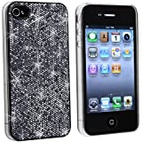 Black Bling Rubberized Hard Slim Case Compatible With iPhone 4 G OS
