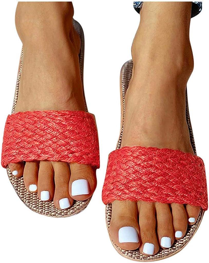 Dainzusyful Slides,Womens Bohemian Open Toe Summer Strappy Espadrilles Shoes Slip On Slippers Linen Beach Sandals