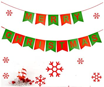 amazon com merry christmas banners with non woven fabrics for