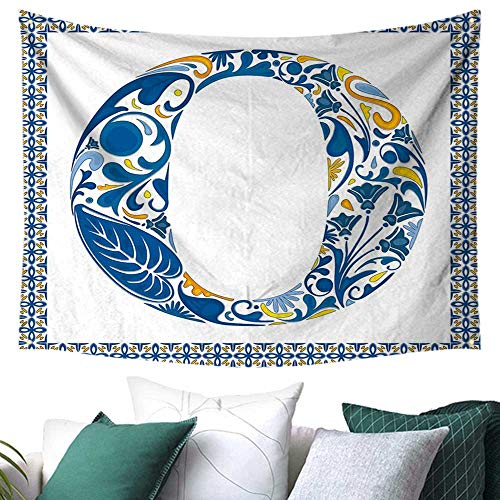 Letter O Wall Tapestry Hanging Blue Capital Letter in Framework Portuguese Tile Art Azulejo Floral Design Home Decor Couch Cover 72W x 54L Inch Blue Yellow Orange (Azulejos De Toronto)