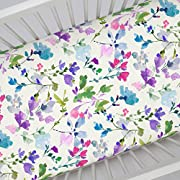 Carousel Designs Bright Wildflower Crib Sheet - Organic 100% Cotton Fitted Crib Sheet - Made in the USA