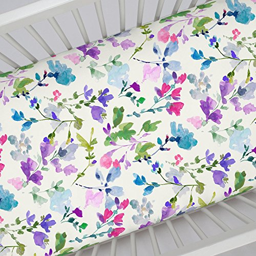 Carousel Designs Bright Wildflower Crib Sheet - Organic 100% Cotton Fitted Crib Sheet - Made in the USA (Purple Carousel)