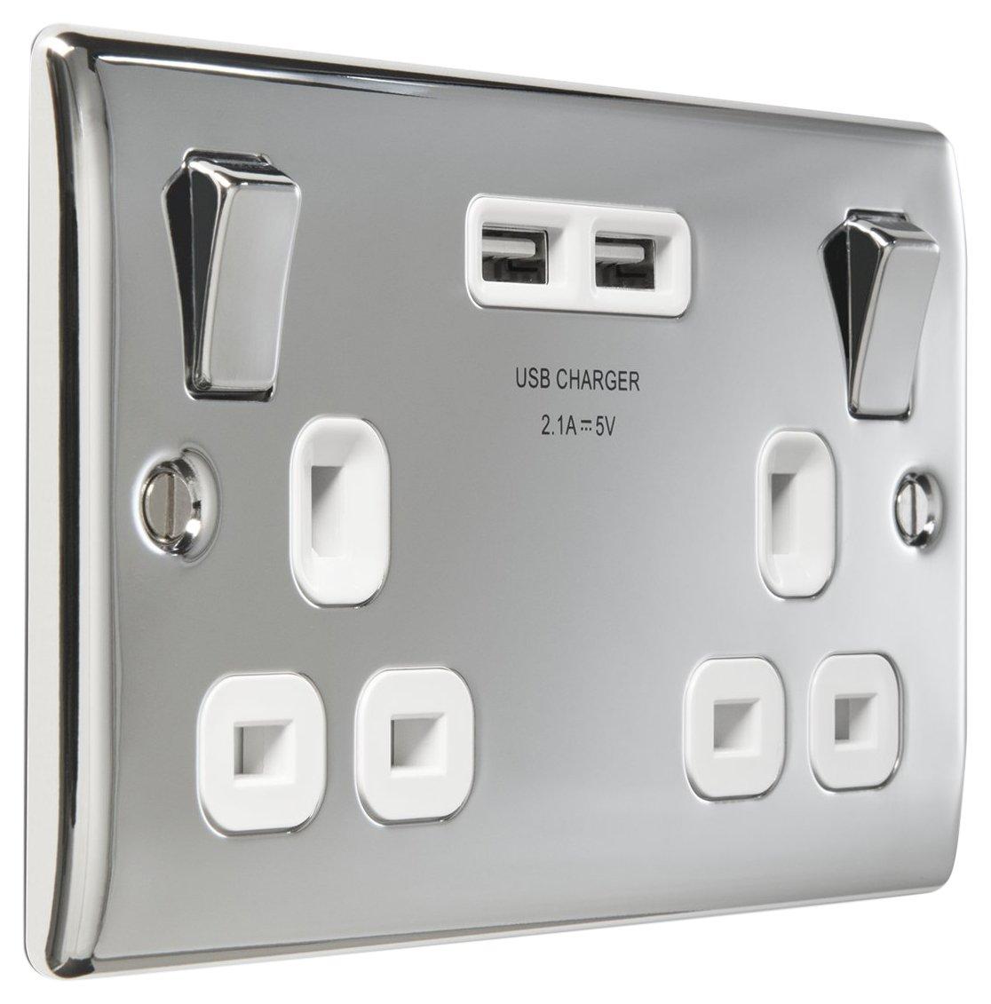 Masterplug 13 A 2 Gang Polished Chrome Switched Socket with 2 x USB Port - White Insert NPC22UW