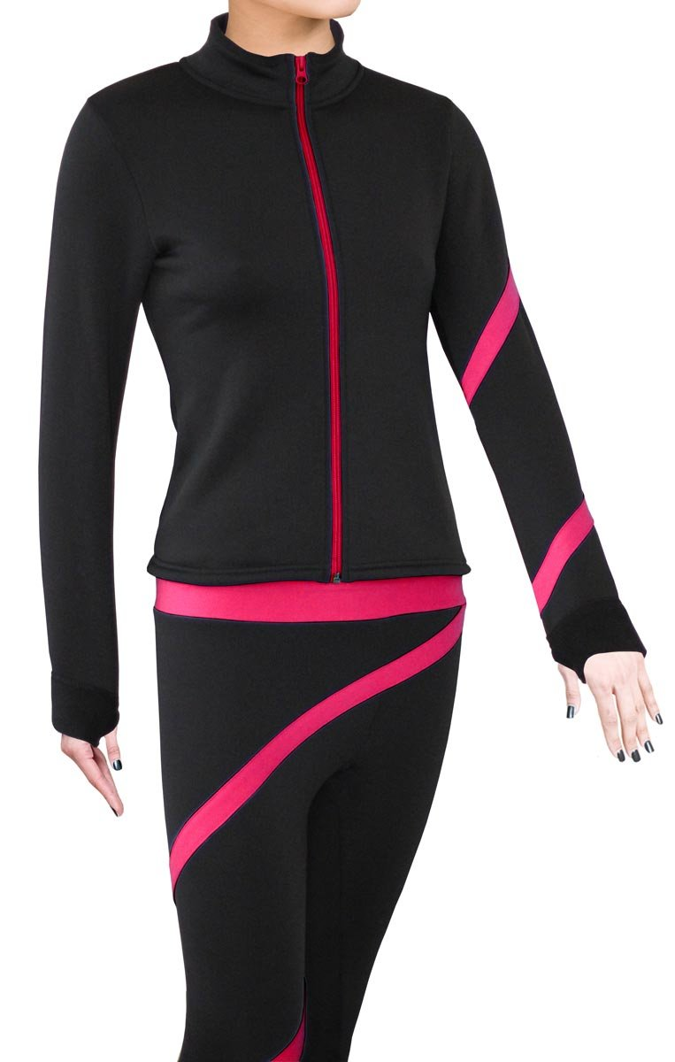 ny2 Sportswear Figure Skating Polartec Polar Fleece Spiral Jacket (Fuchsia, Child Extra Small) by ny2 Sportswear