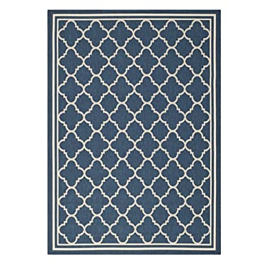 Safavieh Courtyard Collection CY6918-268 Navy and Beige Indoor/ Outdoor Area Rug, 2 feet 7 inches by 5 feet (2'7  x 5')