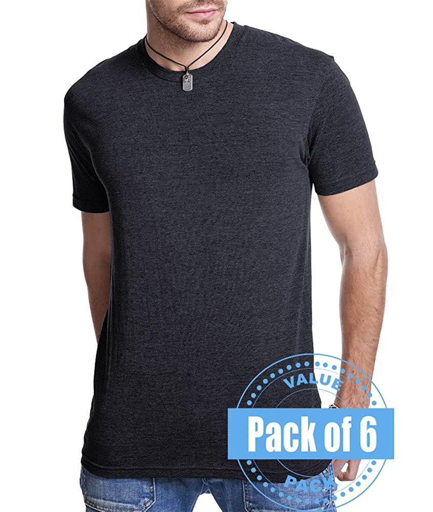 6 Pack Next Level Mens Tri-Blend Crew 6010-Vintage Black