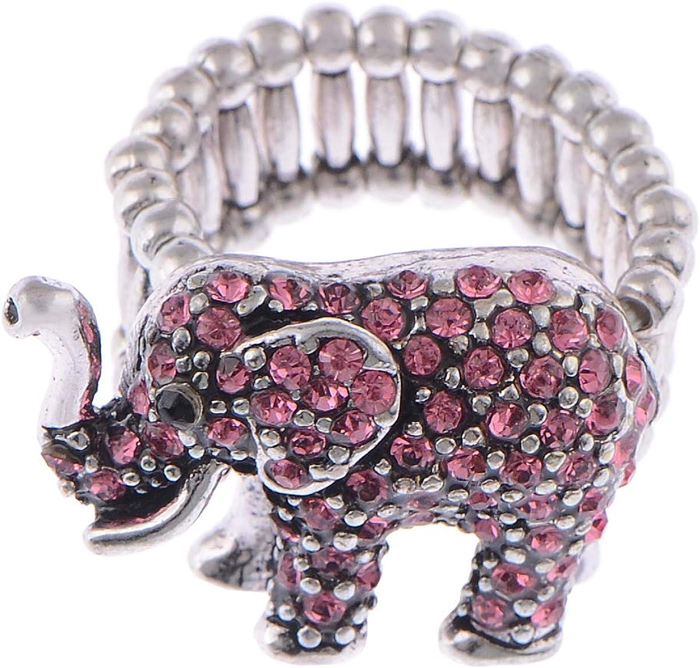 Alilang Tiny Cute Pink Rose Rhinestone Crystal African Safari Playful Elephant Adj Ring