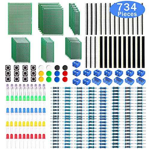 WayinTop PCB Board Kit, Double Sided Prototype Boards 6Sizes 40 Pin 2.54mm Male/Female Header Connector 2/3PinScrewTerminalBlocks and Resistor 10-1MOhm 5mmLedDiodes TactileCapSwitch