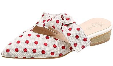 f46ffed1da603 iDuoDuo Women's Bow Polka Dots Mule Slippers Backless Slide Dress Sandals  Pointy Low Heels Slip Ons