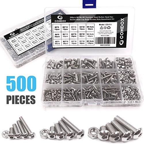 Comdox 500Pcs M3 M4 M5 Stainless Steel Button Head Hex Socket Head Cap Bolts Screws Nuts Assortment (Metric Bolt Assortment)