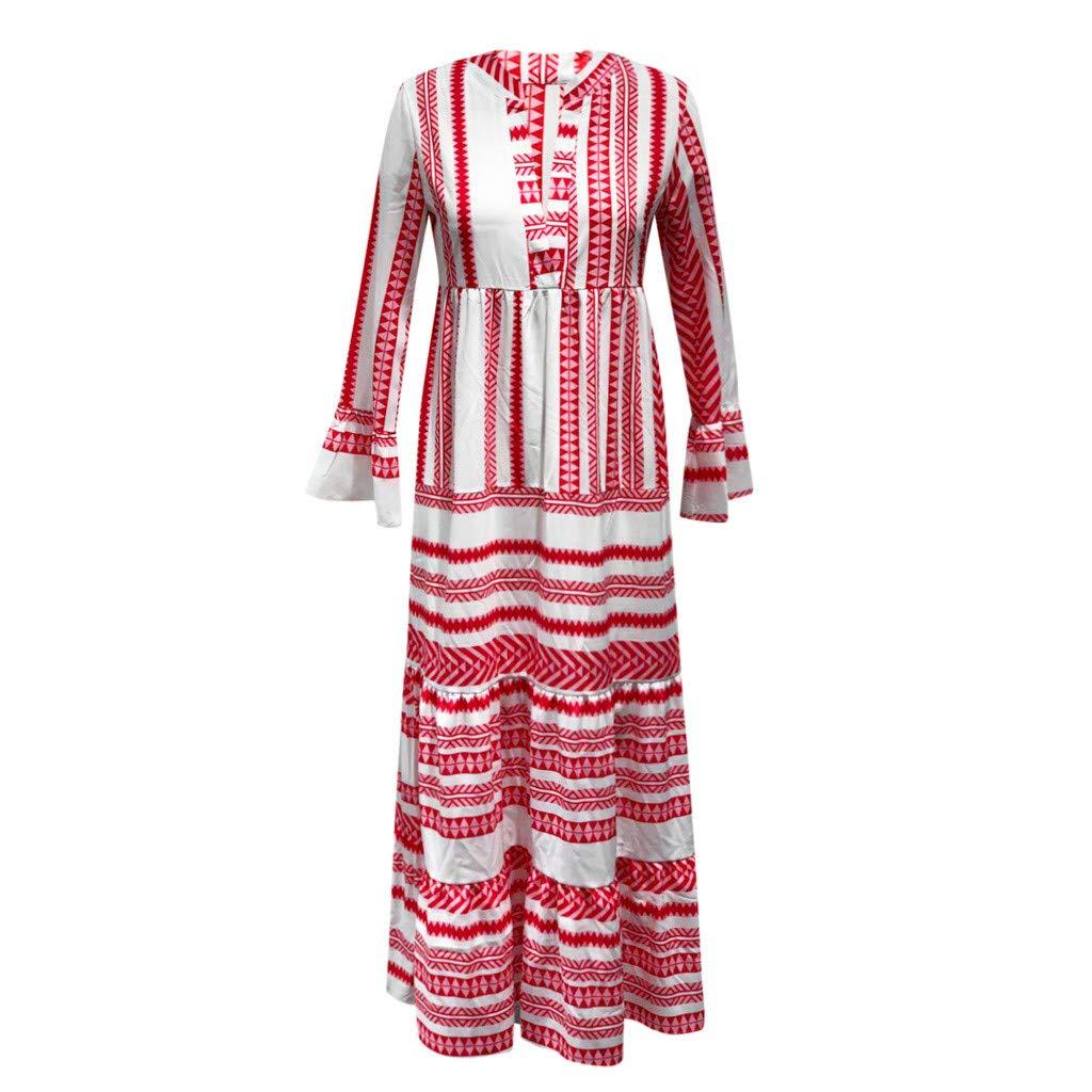 Sunnywill Damen Sommer Elegant Festlich Lang Knielang Kleider Mode gedruckt V Ausschnitt Beach Party Lange b/öhmische