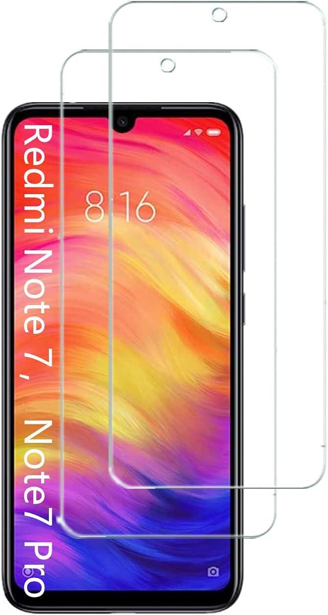 UNO' Protector pantalla cristal templado 2 Unidades compatible con Xiaomi Redmi Note 7, Redmi Note 7 Pro, Vidrio Templado Ultra Resistent Sin Burbujas, 9H, Antiarañazos.