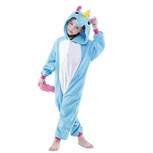 d4a6210bc1 DarkCom Niños Unicornio Mamelucos De Dibujos Animados Pijamas Ropa De Dormir  De Halloween Kigurumi Trajes Cosplay