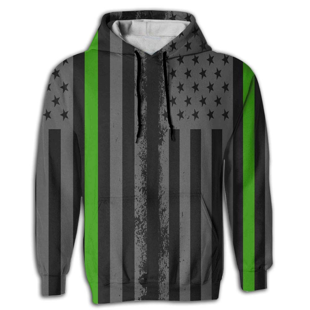 CHAN03 Unisex Realistic 3D Print Hoodie Hooded Sweatshirts Green Thin Line American Flag