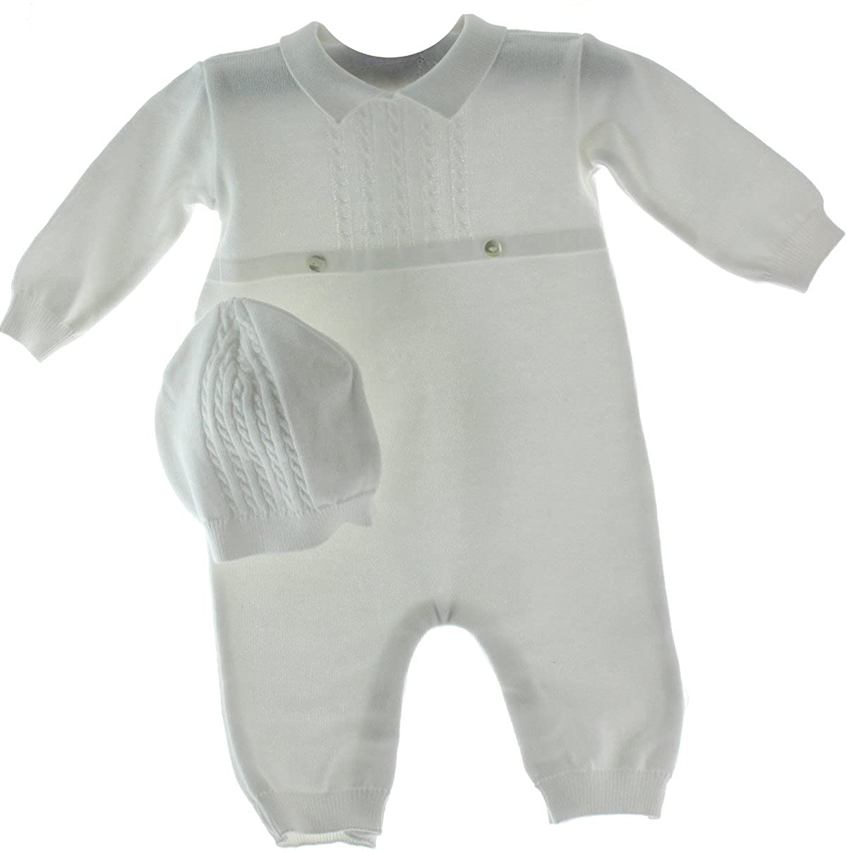 ff58a3f02 Amazon.com  Feltman Brothers Baby Boys White Knit Coverall Set With ...