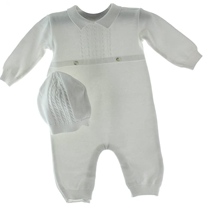 39c7a1e8c00 Feltman Brothers Infant Boys White Knit Romper Hat Set Take Home Outfit (9M)