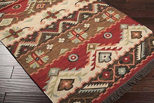 (Surya Jewel Tone JT-8 Flatweave Hand Woven 100% Wool Carnelian 9' x 13' Southwest Area Rug)