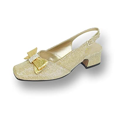 82778ea0a32 Floral FIC Evelyn Women Extra Wide Width Glitter Slingback Gold 5