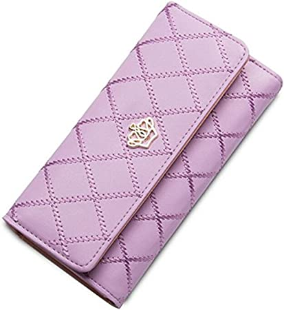 Cartera de piel sintética con corona de Wonem para señoras y niñas, bolso largo de moda para mujer, bolso de dinero, Violet (Morado) - .