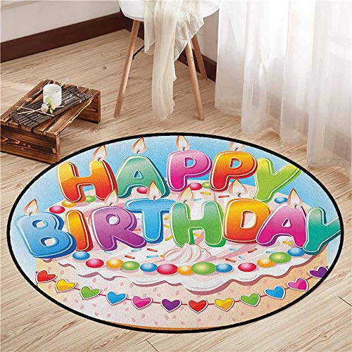 Living Room Round Mat,Kids Birthday,Cartoon Style Happy Birthday Party Image Cake Candles Hearts Design Print,Rustic Home Decor,2'7