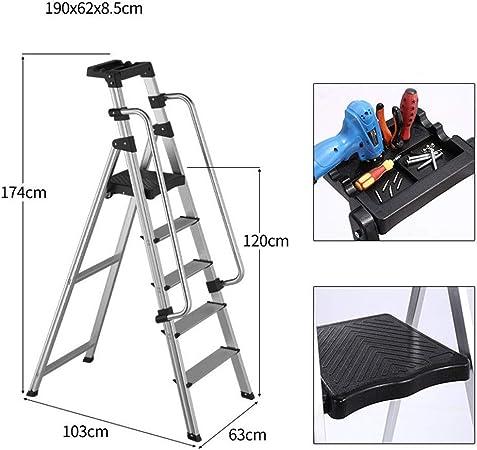 Guoyajf Escalera De Seguridad Plegable - Marco De Aluminio Portátil MAX 500 Lbs Capacidad Apoyabrazos Laterales Antideslizantes Pedales De Gran Área Adecuado para Ingeniería De Oficina En Casa,5step: Amazon.es: Hogar