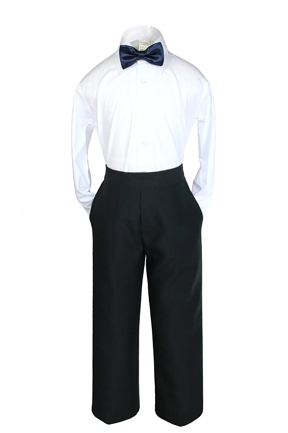 2T, Navy Bow tie Unotux 6pc Formal Boy Black Tuxedo Suit w//Satin Colors Bow tie from Baby Boy Teen