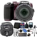 Nikon Coolpix B500 16MP Digital Camera Plum with Accessories + Extra Batteries