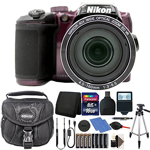 Nikon Coolpix B500 16MP Digital Camera Plum with Accessories + Extra Batteries