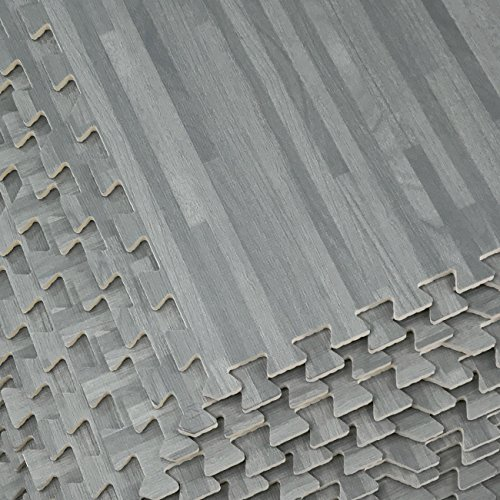 Sorbus Wood Floor Mats Foam Interlocking Wood Mats Each Tile 4 Square Feet 3/8-Inch Thick Puzzle Wood Tiles with Borders – for Home Office Playroom Basement (12 Tiles 48 Sq ft, Wood Grain - Gray) by Sorbus (Image #4)