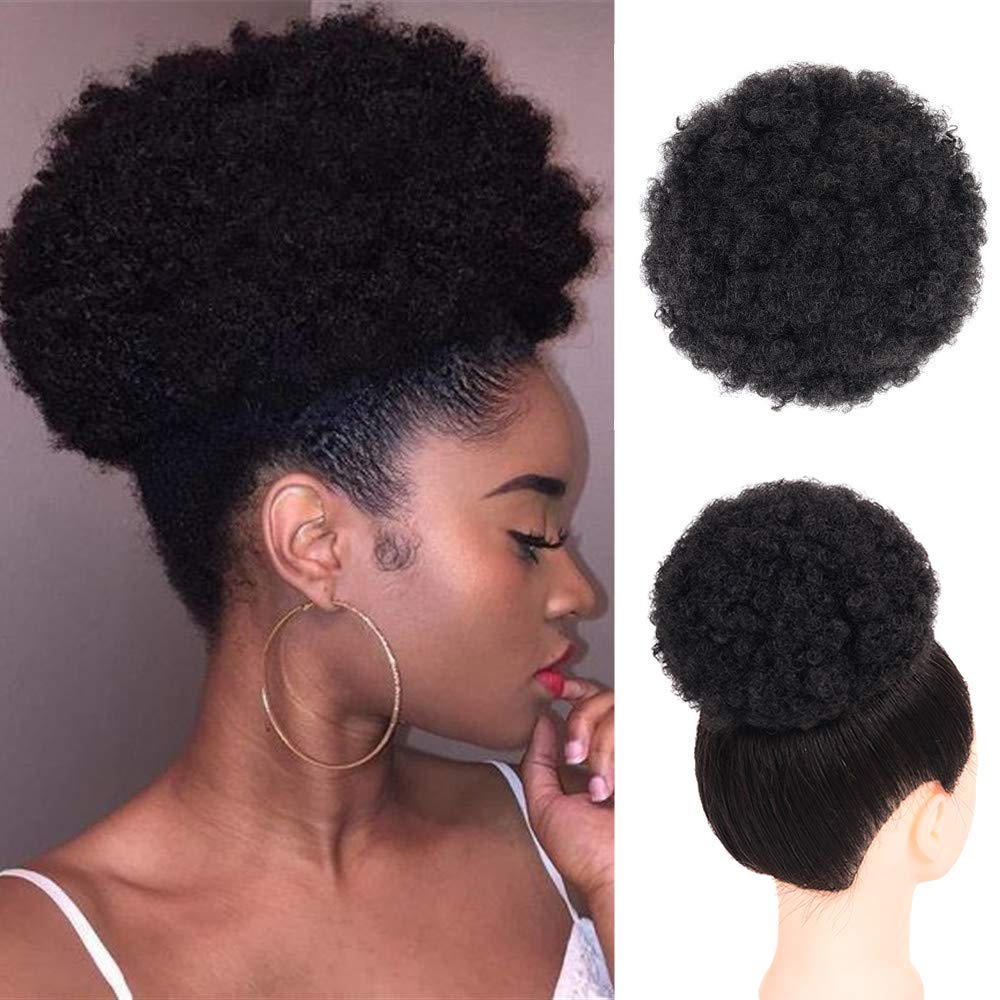 Amazon Com Afro Ponytail Drawstring Synthetic Curly Hair Afro Buns Short Afro Kinky Curly Wig Kanekalon Fiber Afro Ponytail For Natural Hair Puff Ponytail Wrap Updo Hair Extensions With Two Clips Black