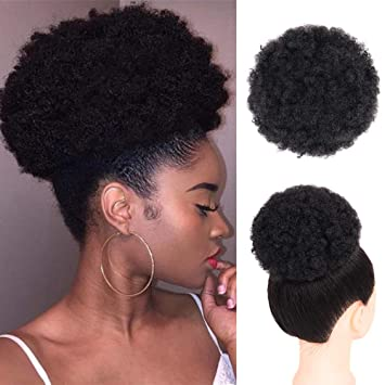 Amazon Com Afro Ponytail Drawstring Synthetic Curly Hair Afro Buns
