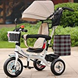 Multifunctional Children's Tricycle Baby Trolley 1-6 Years Old Infant Child Bicycle Removable Boys And Girls Bike Multi-color Cloth Awning (Color : White-E)