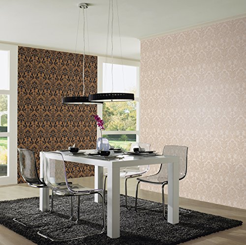 Textured Vinyl Damask Wallpaper Brown, Black and Silver P+S 02485-40 by P+S International (Image #1)