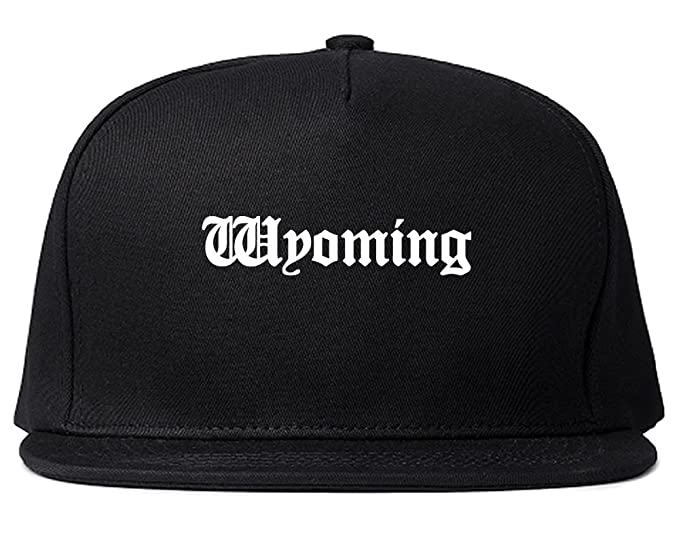 WY Wyoming State Old English Snapback Hat Cap Black at