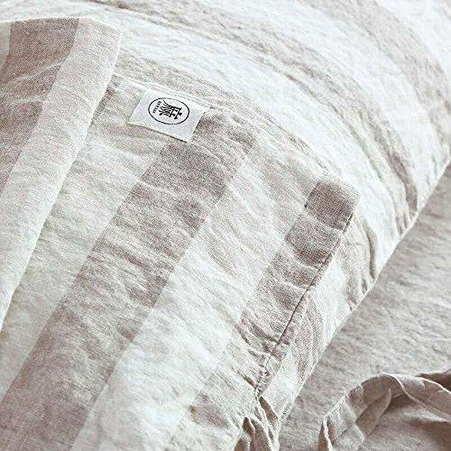 Merryfeel 100% Yarn Dyed Linen Duvet Cover Set - King - Cream Stripe