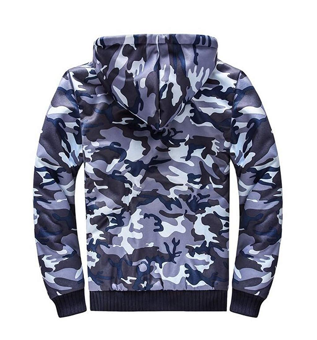 Pluszing Men Thicken Fleece Cotton Hooded Camouflage Big and Tall Sweatshirts