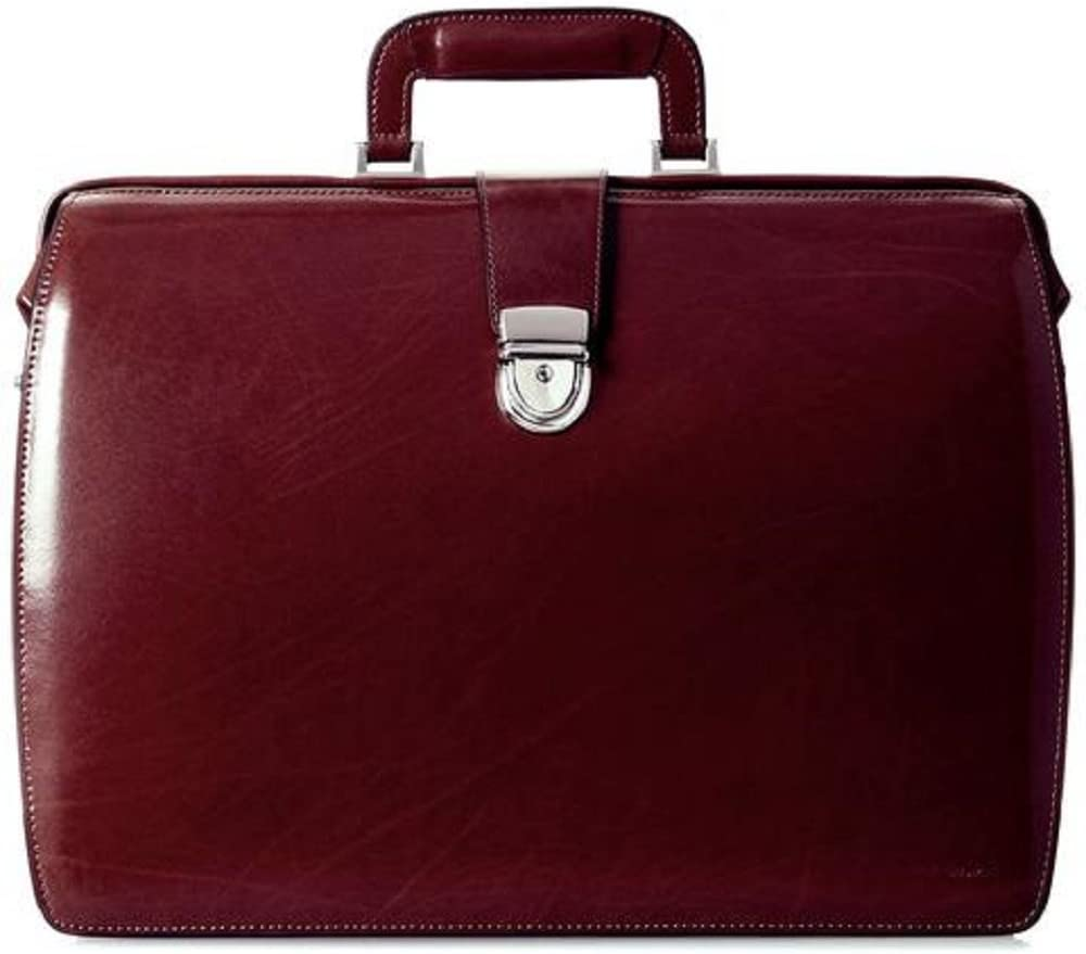 Jack Georges Elements Classic Leather Triple Gusset Briefbag 4505 - Burgundy